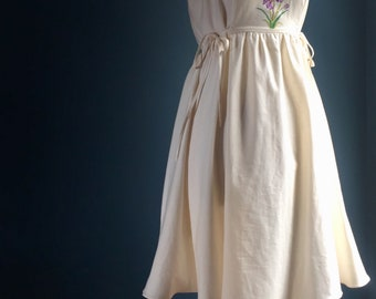 Womens pinafore dress embroidered antique linen with purple iris and certified organic cotton inside pockets 1940s design summer dress