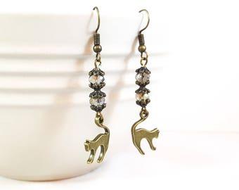 Bronze Cat Earrings, Bronze Dangle Earrings, Cat Earrings, Crystal Earrings, Gift for Cat Lover, Gray Crystal Earrings, Kitty Earrings