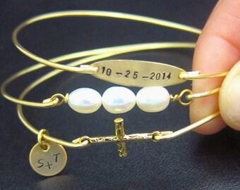 Religious Wedding Gift, Religious Wedding Jewelry, Wedding Bracelet Set, Religious Gft, Religious Jewelry, Religious Bracelets