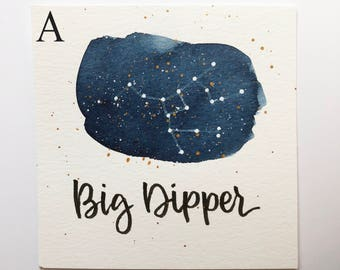 Big Dipper Constellation Painting - Galaxy, Night Sky, Stars, Original Watercolor, Astronomy, Gift for Her, Boho Art, Ursa Major, Boho Style