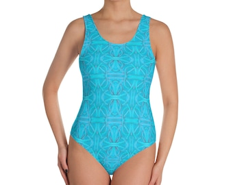 Cerulean Blue Knots One-Piece Swimsuit