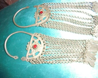 Algerian Jewelry, rare old pair fine silver hoop earrings with dangles, cut glass