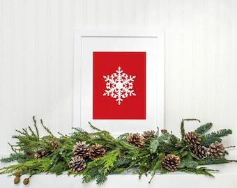 Winter decor, Red Snowflake Printable, Christmas home decor, Snowflake art print, Holiday decor, Winter Print, Red Christmas Printable art
