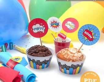 DIY Superhero Party Printable Cupcake Toppers and Wrappers comic book style PP004 instant download