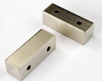 Silvertone 2 Hole Bar (2 Pcs) #2408