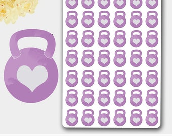 Kettle Bells Stickers,Purple Barbell Sticker, Barbell Planner, Gym Planner, Gym Tracker, Fitness Tracker