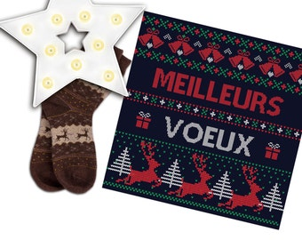 "Greeting card ""Best Wishes"" retro and knit with stitch effect sweater, bells, gifts, reindeer and firs"