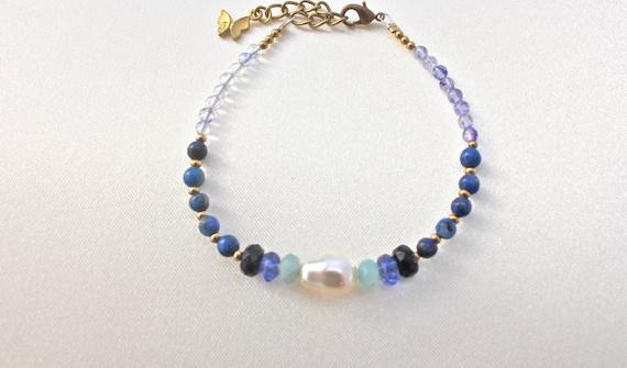 bracelet mariage pierres fines lapis lazuli, quartz bleu, amazonite et blue stone, laiton massif