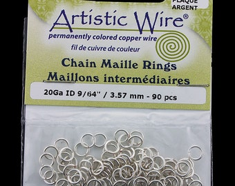 """Artistic Wire Tarnish Resistant Silver Color Jump Ring 3.5mm ID (9/64"""")20ga (900AWS-14)"""