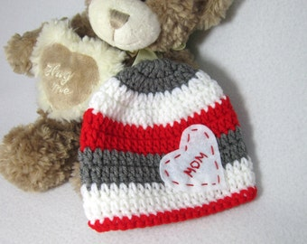 Valentine's Day Hat - Crochet Red Gray and White Baby Cap - Unisex Photo Prop, Striped Red Gray and White Beanie by Charlene ~ Twins Hats
