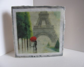 6X6 Encaustic Paris Love, Eiffel Tower, Red Umbrella Mixed Media Wax (Encaustic) Collage on Cradled Birch Panel. SFA (Small Format Art)