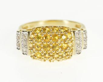 14k Citrine Diamond Rounded Statement Cluster Ring Gold