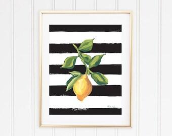 Lemon Art Print, Lemon Wall Art, Lemon Illustration, Citrus Fruit Print, Fruit Wall Print, Lemon Kitchen Decor, Picture Of Lemon