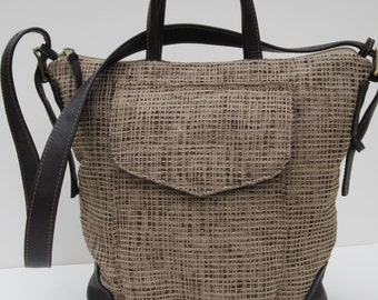 TOTE BAG by Elizabeth Z Mow  Fabric with LEATHER  Woven Chenille