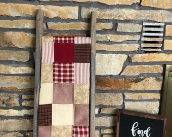 Farmhouse Quilt, rustic quilt, country quilt, minky, handmade quilt, rustic home decor, red quilt, rustic decor, soft minky backing