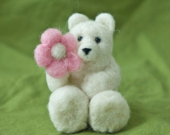 Needle Felted Bear - Holding Flower