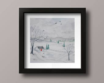 Winter in the Croaghs: Watercolour Snow Scene, Cottage, Winter