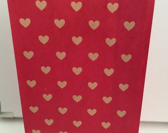 Hearts, Paper Bag, Gift Bag, Treat Bag, Party Favor Bags - 12 bags total