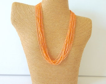 Peach necklace,boho necklace, light orange, fall jewelry, statement necklace, multistrand necklace, beaded necklace, seed bead necklace