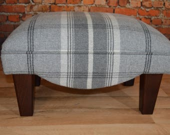 Footstool in Dove Grey Balmoral Tartan and Solid Wood Legs