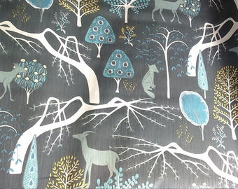 Curtain panel grey white mustard blue wild animals Forest Modern Decor Cafe curtain Kitchen valance , runner , napkins available, great GIFT