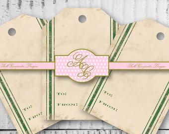 Green Grain Sack Stripe Gift Tag, Grain Sack Gift Label, Rustic Gift Tags, Vintage Gift Tag, Printable Gift Tag, Gifting Supplies, Farmhouse