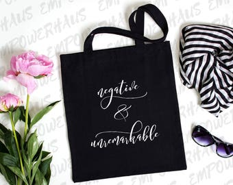 "Cancer Survivor Gift - ""NEGATIVE AND UNREMARKABLE"" Tote Bag - Cancerversary - Chemo Care Package - Cancer Free - N.e.d. - Ned"