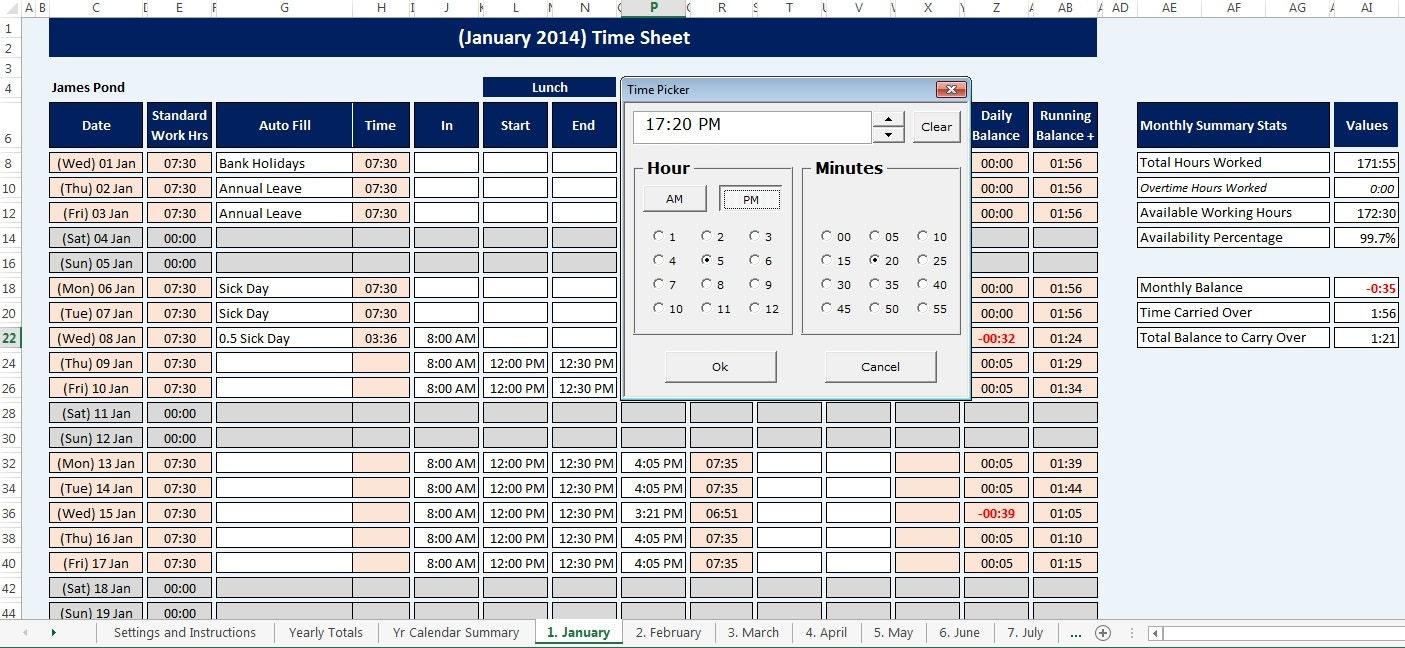 Perfect Employee Staff Time Sheet and Calendar reusable Microsoft LJ38