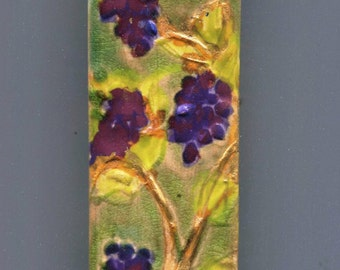 Ceramic Mezuzah Case with Golden Grape Vine Hand Painted Carved Hebrew Letter Shin