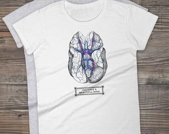 Beautiful Mind BRAIN Tee, Vintage Anatomy Print Psychology Women's Jersey 100% Cotton T-shirt Philosophy Psychologist Teachers Gifts for Her