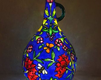 Blue Floral Stained Glass Accent Lamp   Hand-painted   Battery or Electric