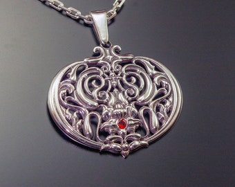 Sterling Silver Pomegranate Jewelry Pomegranate Necklace Garnet Necklace Garnet Jewelry