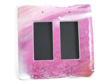 Double slider switch plate cover pink marbled unique home decor
