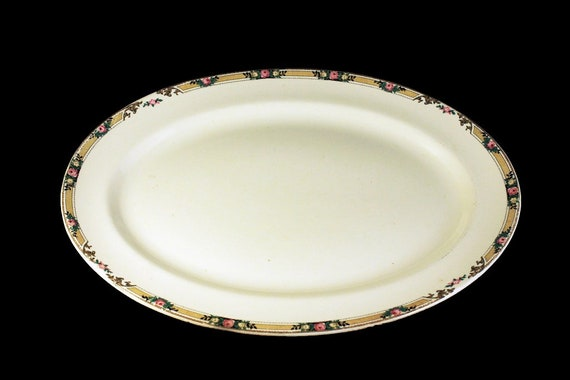 13 Inch Platter, Mount Clements, Floral Band, Pink Rose, Fine China