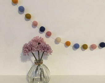 Margot felt ball garland in pink, blue, orange and ivory - home decor, garland, wall hanging