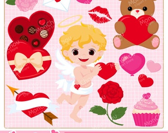 Sweet Valentine Clipart Set - For Commercial and Personal Use Valentine Clip Art