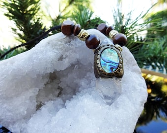 Crystal Necklace - Healing Crystal - Crystal - Abalone Necklace - Double Point - Beaded