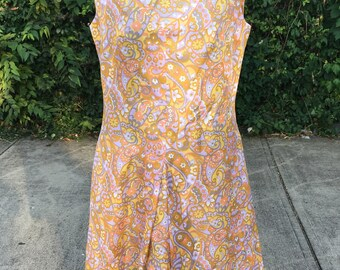 Vintage 60s Mod Hippie Paisley Tunic Dress