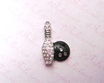 BOWLING BALL, PIN, Crystal, Pendant, Sports, Charm, antique silver, jewelry
