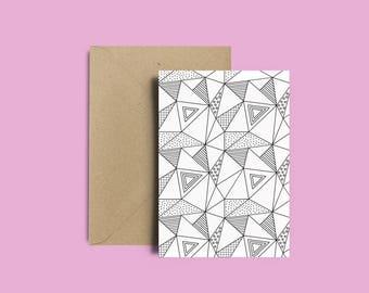 """Carte motifs géométriques - """"Ballet"""" + Enveloppe Kraft recyclé"""