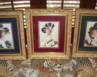 Reduced  Trio of Fashion Prints Victorian Ladies in High Fashion Hats Item #4310 Collectibles