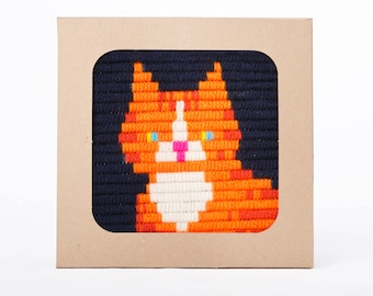 Ginger Kitten design embroidery kit for kids and adults - embroidery kit for beginners, DIY kids kit - birthday gift craft kit