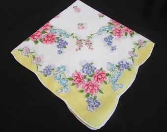 VINTAGE FLORAL HANKIE printed cotton Yellow bordered Springtime hankies hanky Handkerchief Collectible hankies  H-110