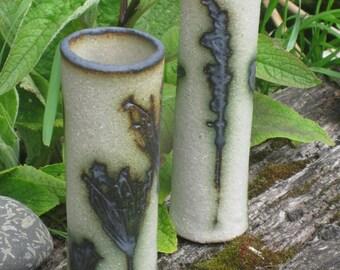 Stoneware bud vase, small vase, with wildflower imprints