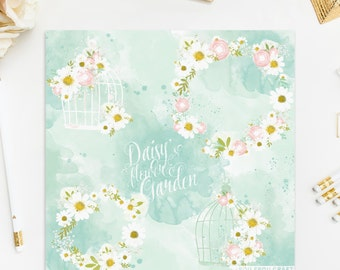 Birds Cage ClipArt Intant Download Daisy Camomile Rose Watercolor Flowers White Pink Green Yellow Baby Invitation Digital Wedding DIY Pack