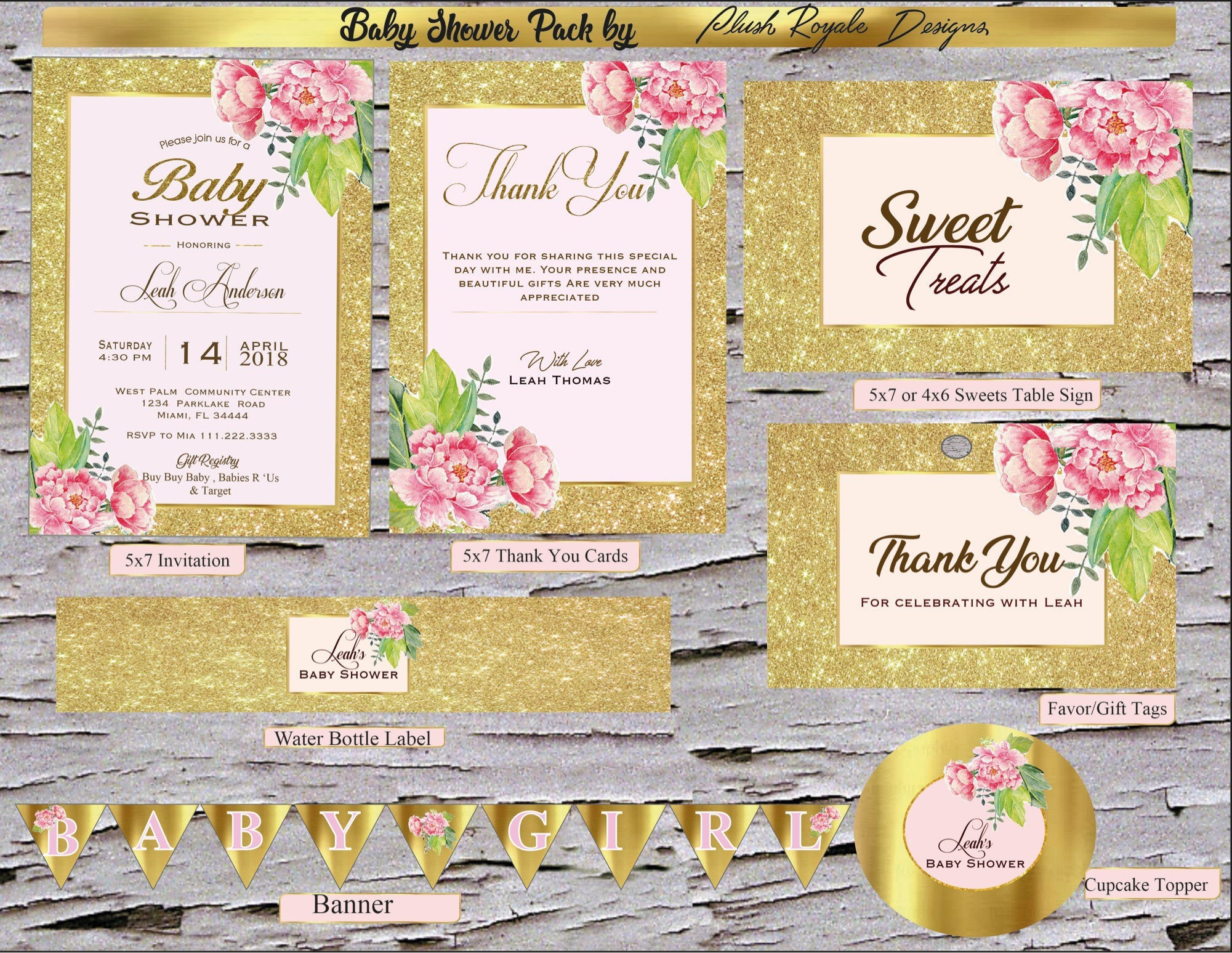 Blush Pink Floral Sparkle Baby Shower Invitations package Digital File