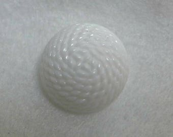 5 white glass buttons, dome  - 23mm