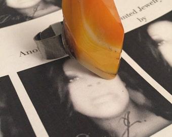 Orange Creme Agate Stone Ring