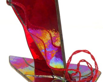 This stained glass Tiffany vase is named cherry