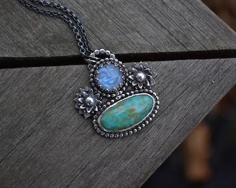 Moon Gemstone Necklace, Man in the moon, Man in the moonstone, Moonstone Necklace, Moon, Turquoise, Kingman Turquoise, Sterling Silver